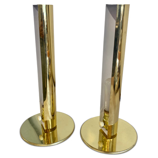 Pair of Brass Rod Table Lamps by George Kovacs