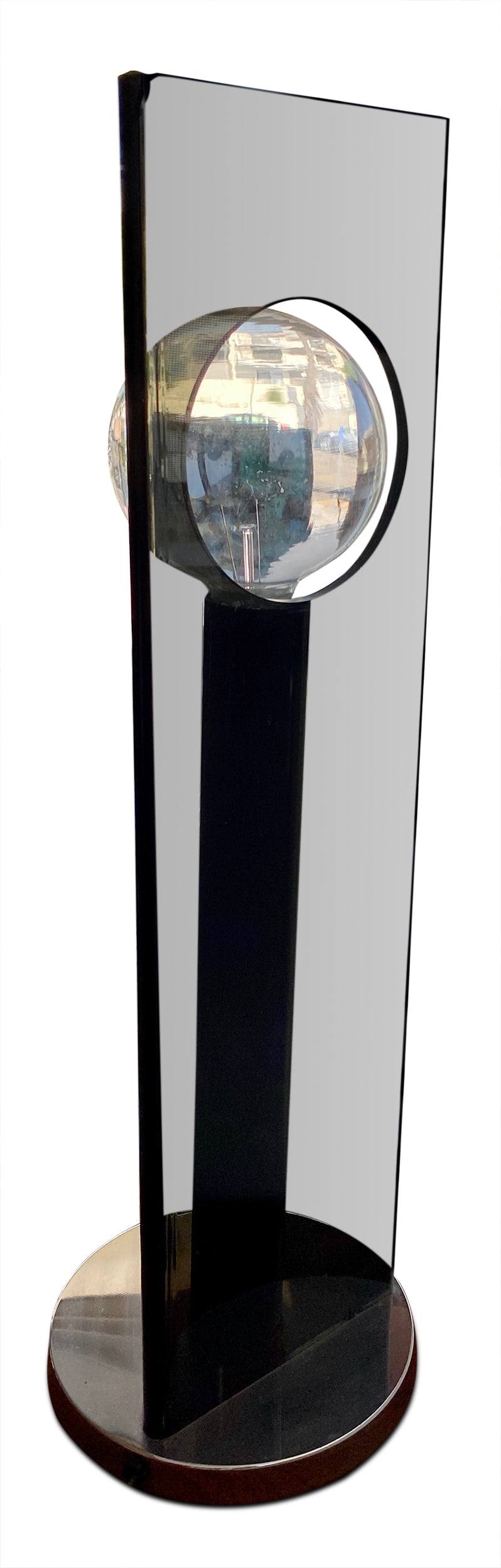 Black Lucite + Chrome Table Lamp