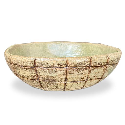 Hand Molded Grid Pattern Ceramic Bowl