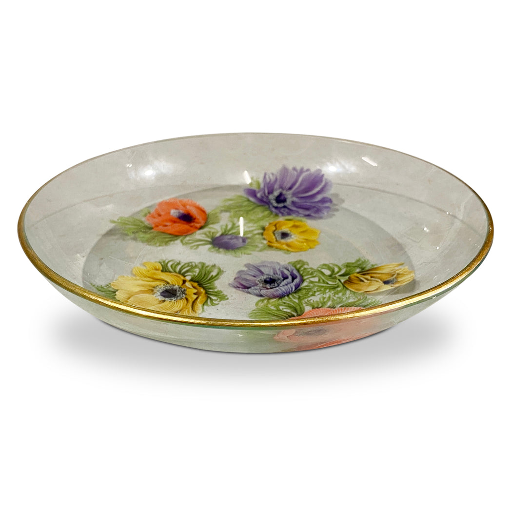 Vintage Glass Floral Bowl