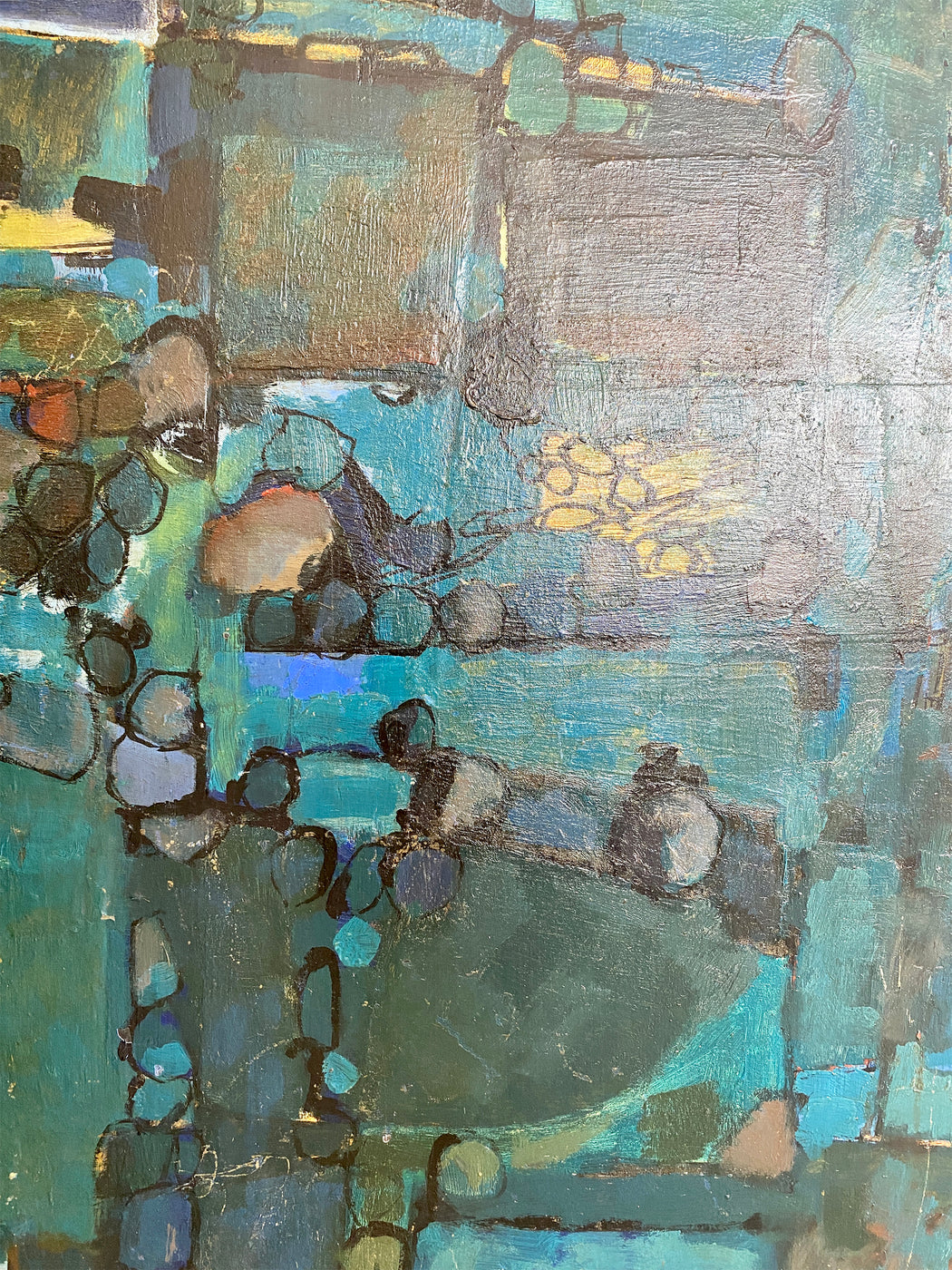 Teal Abstract MCM Painting
