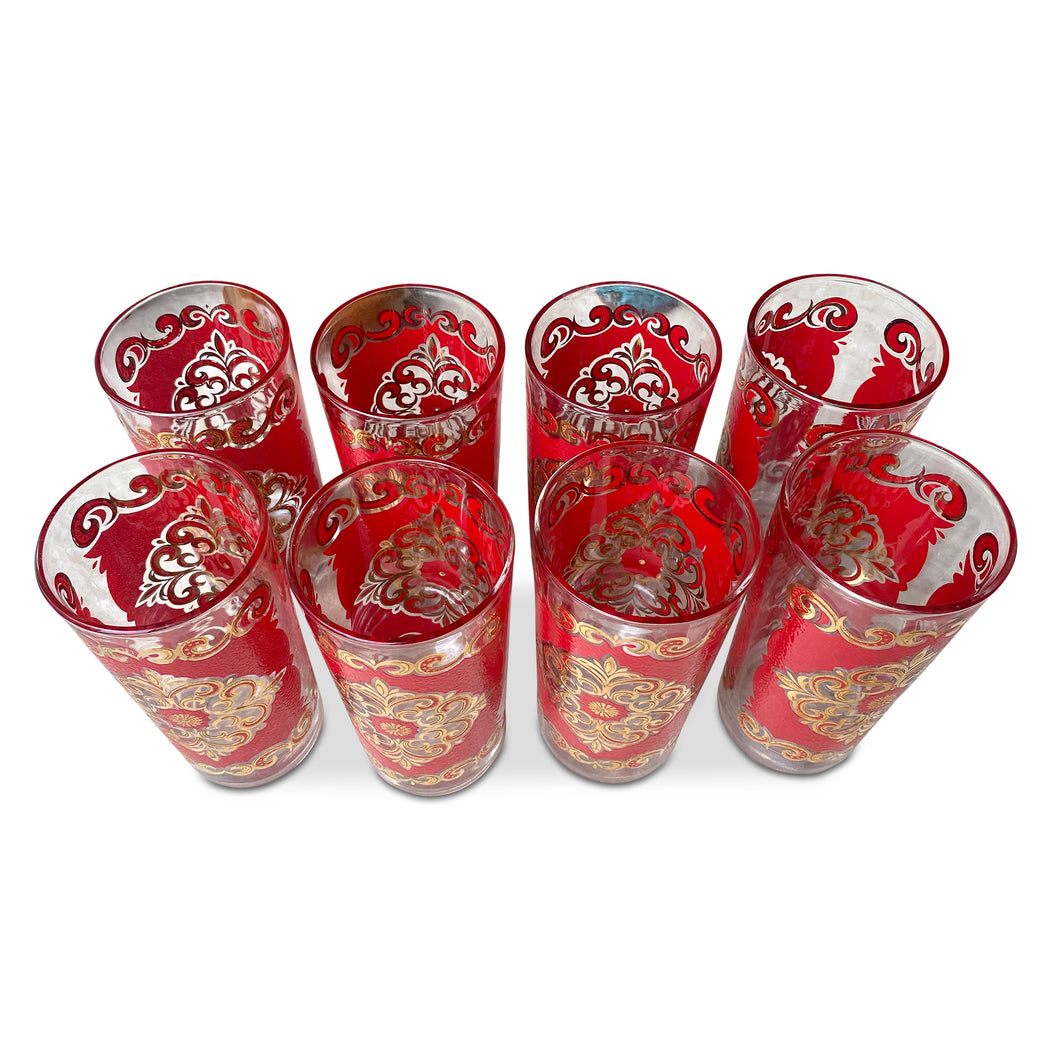 Set of 8 Red + Gold Tumblers
