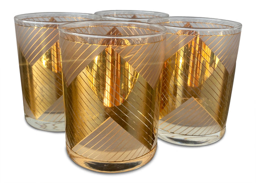 Set of 4 Gold Deco Tumblers