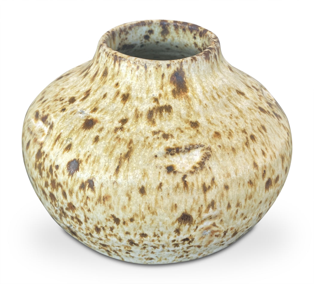 Rounded Speckled Studio Pottery Vase