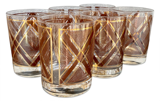 Set of 6 Gold Crosshatch Tumblers