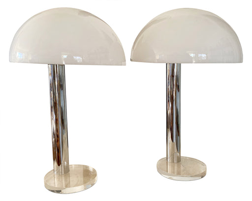 Pair of Chrome Mushroom Lamps