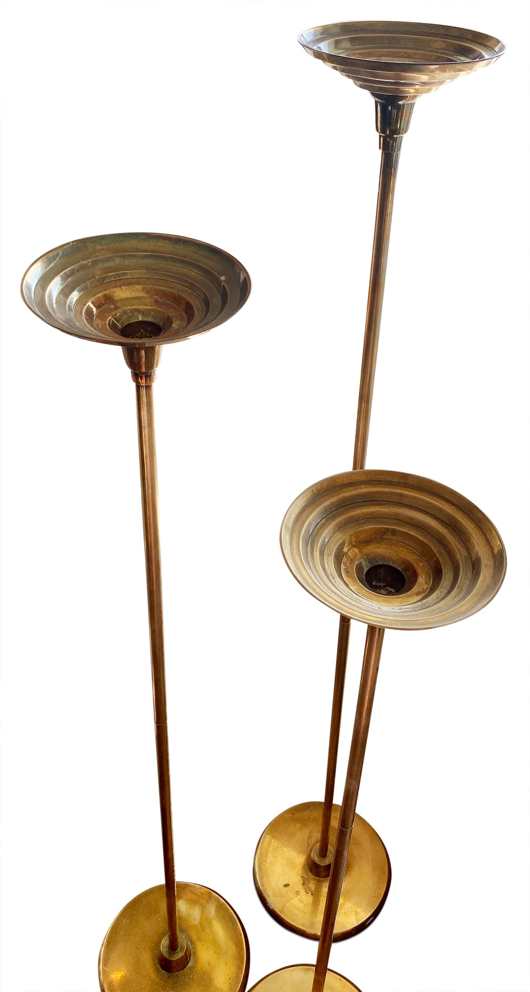 Trio of Tall Brass Candleholders