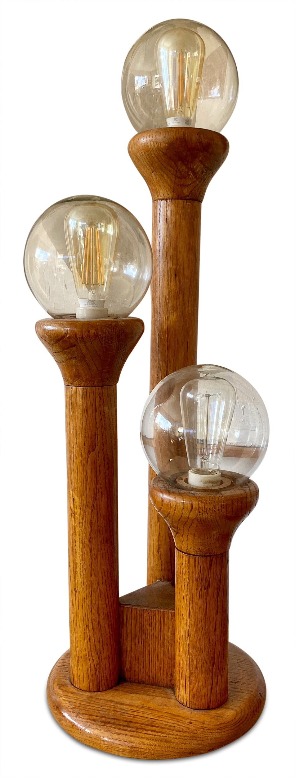 Three Globe Oak Table Lamp