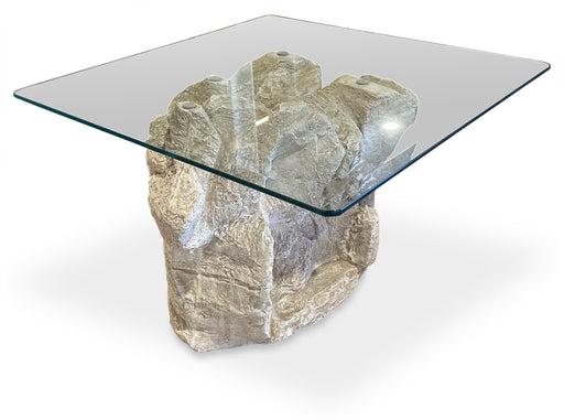 Sculptural Plaster + Glass End Table
