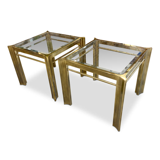 Pair of Brass + Glass End Tables by Mastercraft