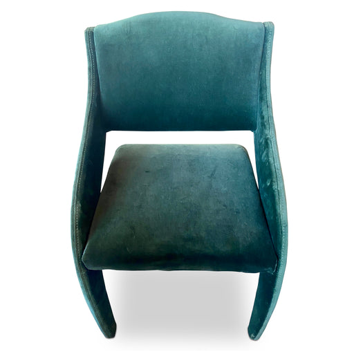 Sculptural Green Velvet Chair