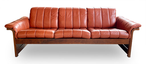 MCM Red Leather 3-Seater Sofa