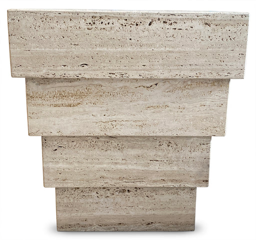 Stacked Travertine End Table/Pedestal