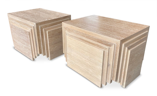Pair of Terraced Wood End Tables