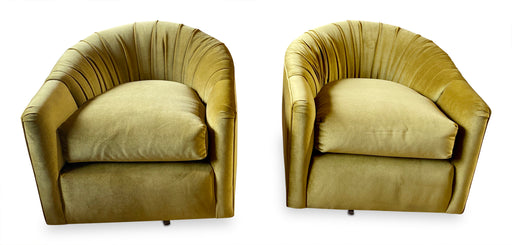 Pair of Olive Velvet Swivel Chairs