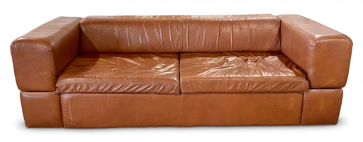 Brown Leather Block Sofa/Daybed