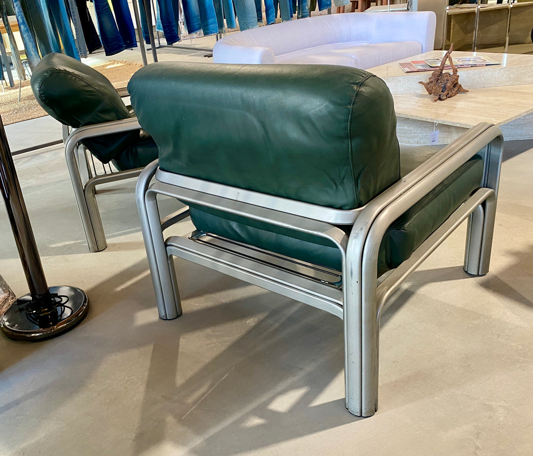 Pair of Gae Aulenti Green Leather Chairs