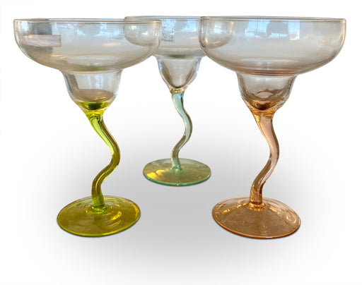 Set of 3 Wavy Margarita Glasses