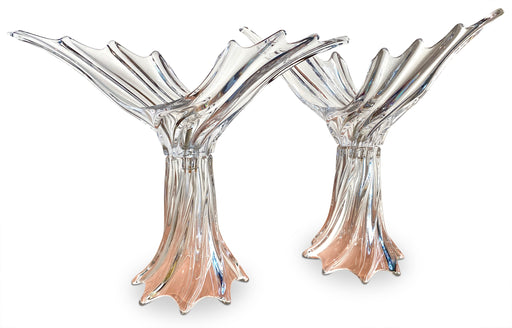 Pair of Lead Crystal Deco Lamps