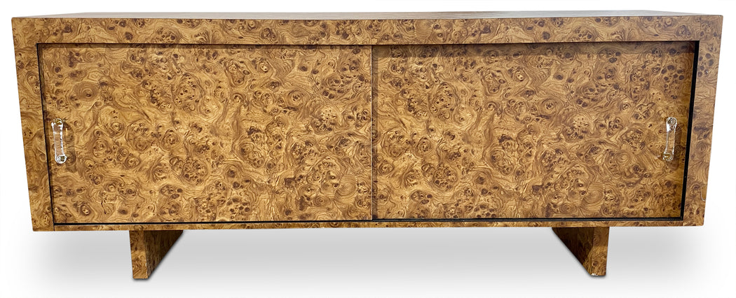 Danish Burl Wood Laminate Credenza