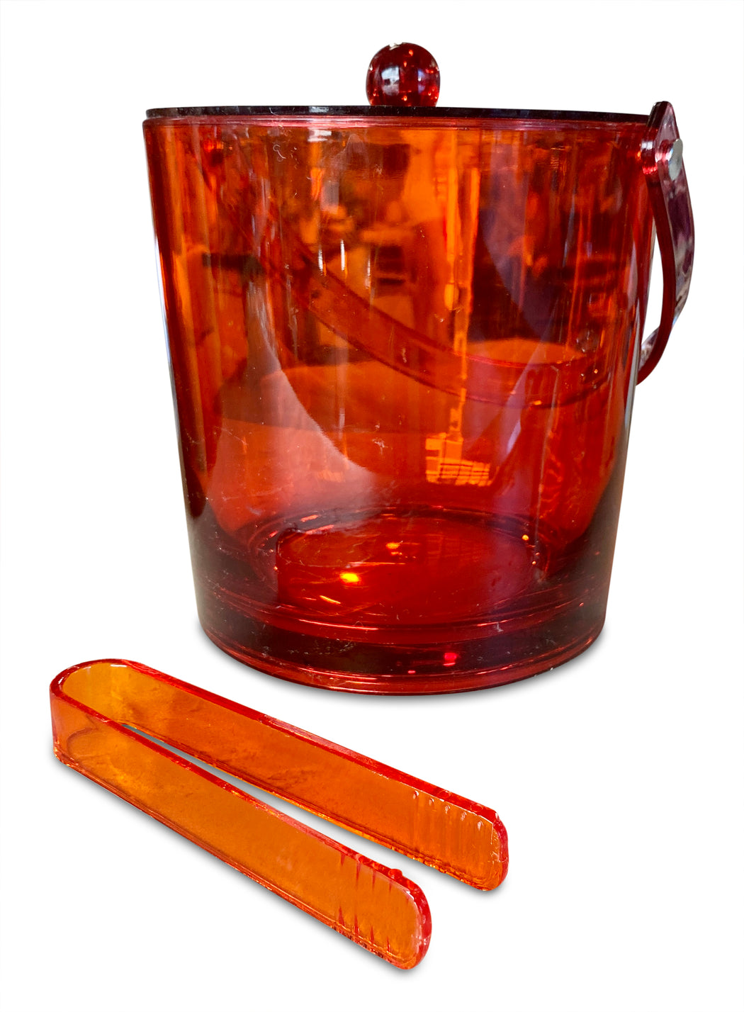 Red Lucite Ice Bucket w Tongs