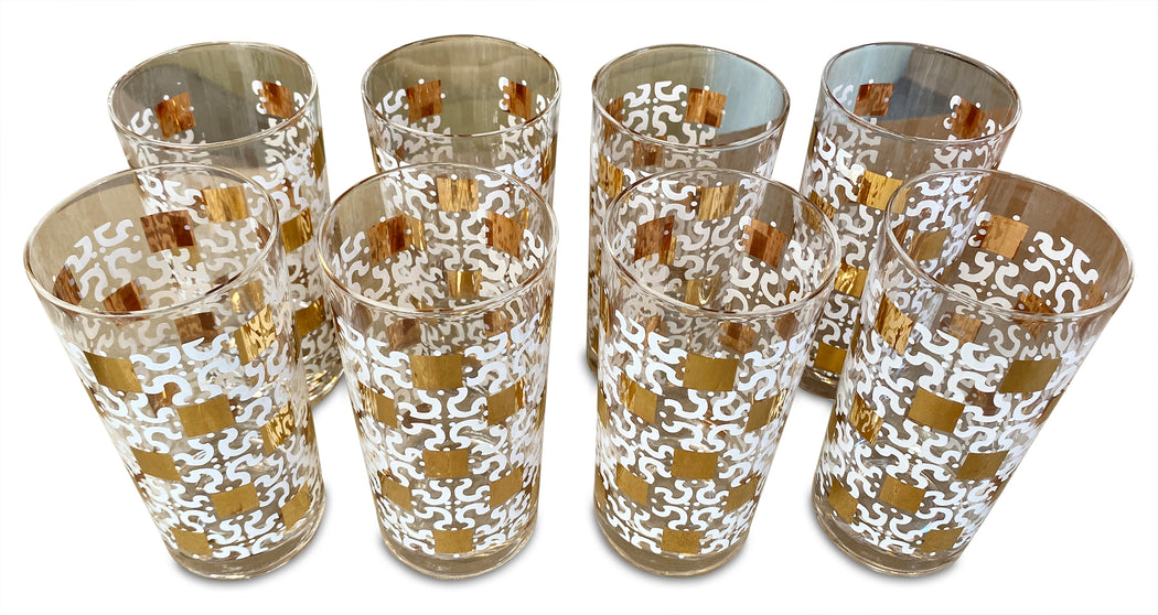 Set of 8 White + Gold Patterned Tumblers