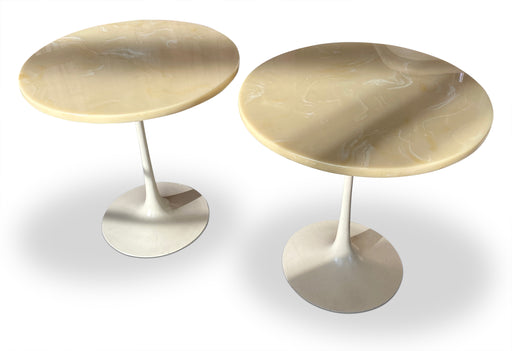 Pair of Resin Top Tulip End Tables