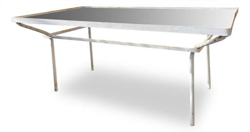 White Iron + Glass Patio Coffee Table