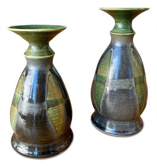 Pair of Studio Pottery Candleholders