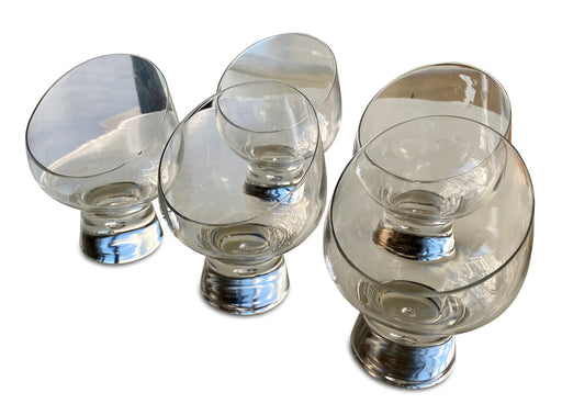 Set of 5 Footed Glass Tumblers