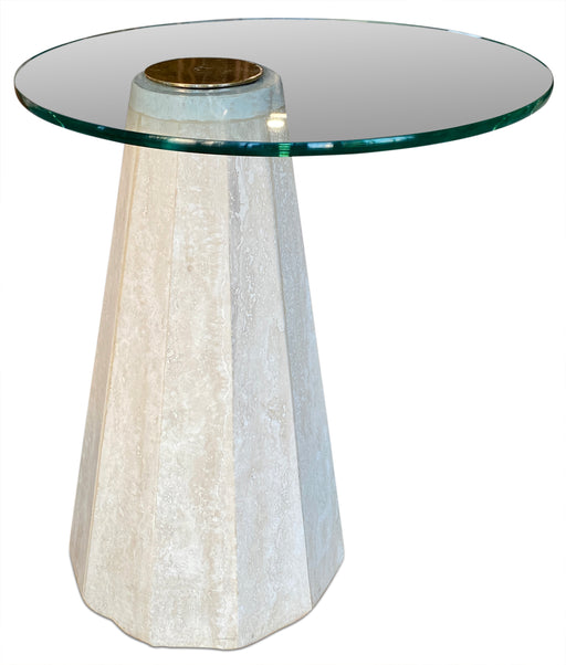 Sculptural Travertine + Glass End Table