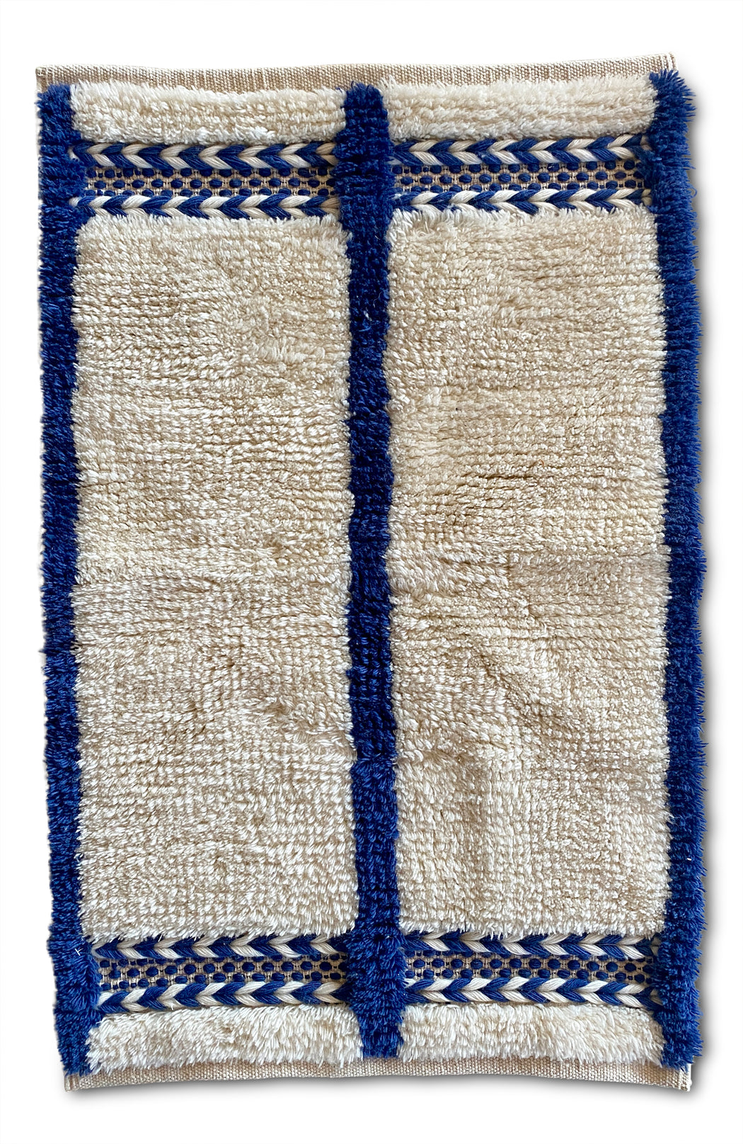 Morrow Soft Goods Blue + White Bath Mat
