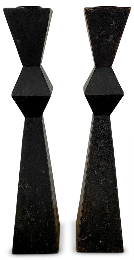Pair of Black Sculptural Candleholders