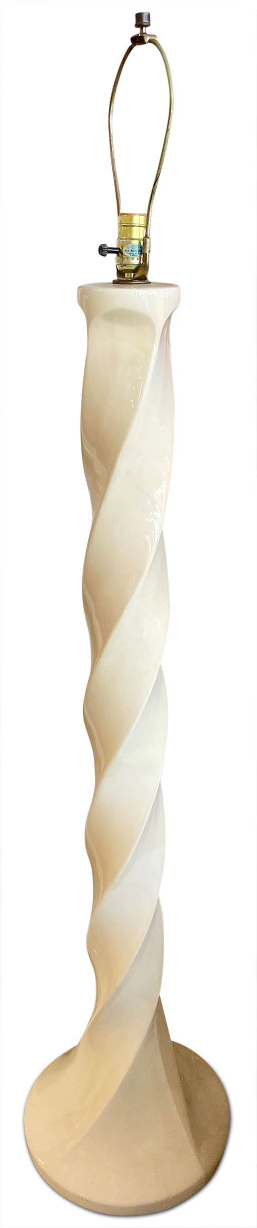 Cream Ceramic Swirl Lamp