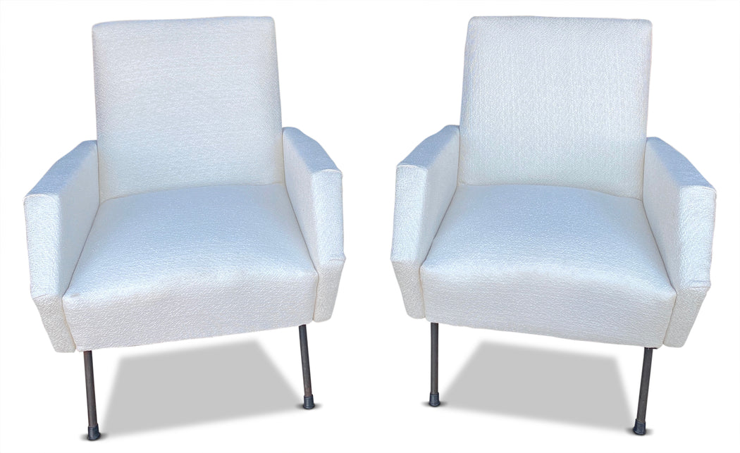 Pair of Upholstered Italian Arm Chairs