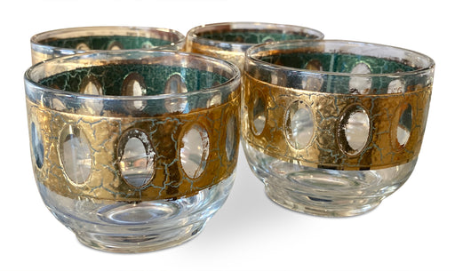 Set of 4 Gold Patterned Tumblers