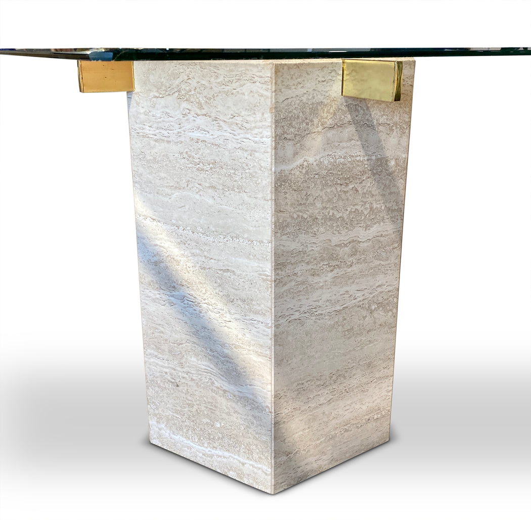 Italian Travertine + Glass End Table