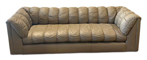 70s Channeled Leather Sofa