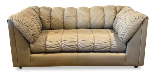 70s Channeled Leather Love Seat