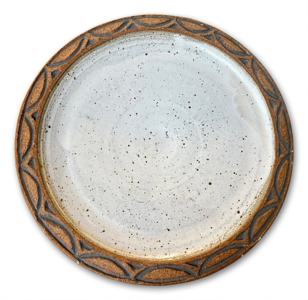 Studio Pottery Plate w Patterned Edge