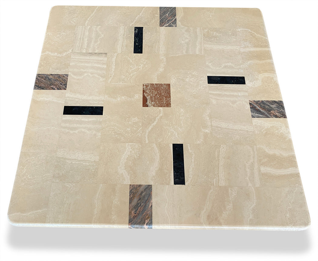 Travertine Coffee Table w/ Colored Stone Panels