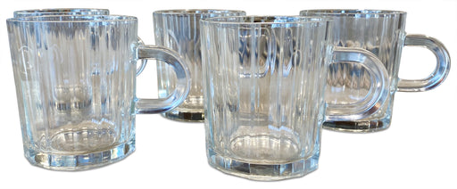 Set of 5 Channeled Glass Mugs