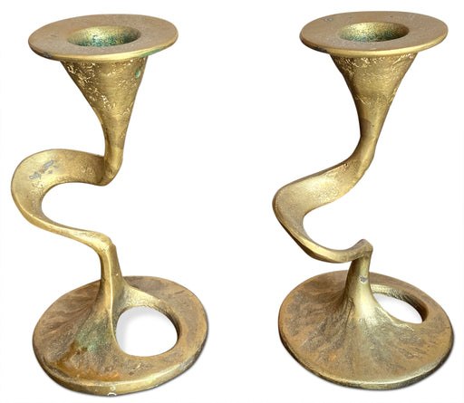 Pair of Brass Swirl Candlestick Holders