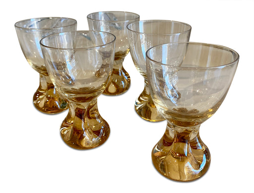 Set of 5 Amber Footed Cordial Glasses