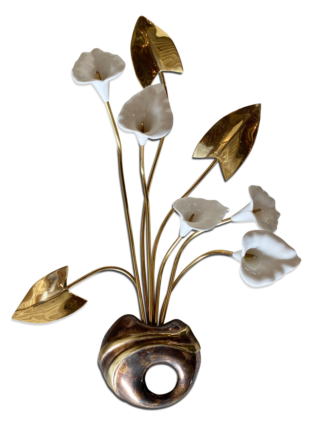 Brass + Ceramic Flower Wall Art