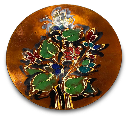 Floral Enameled Copper Plate/Catch All