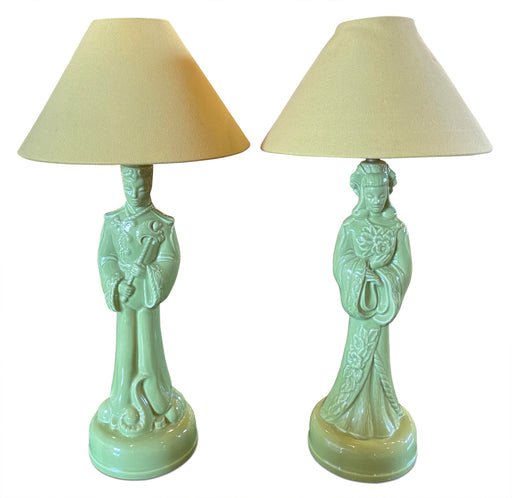 Pair of Vintage Asian Figure Lamps
