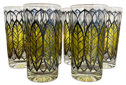 Set of 6 Yellow Leaf Tumblers