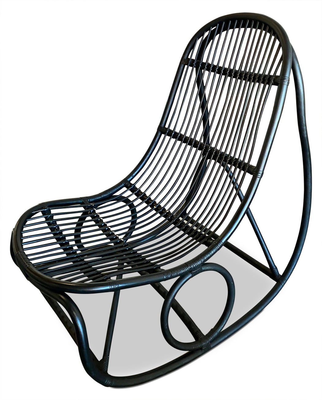 Black Rattan Rocking Chair