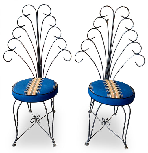 Pair of Metal Peacock Chairs by Tony Paul for Thinline